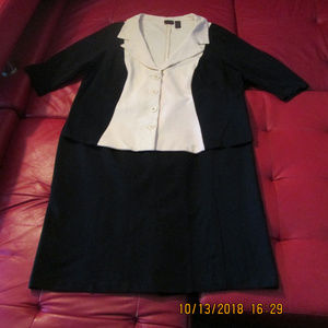 Black and Ivory Color Block Skirt Suit by Shape FX